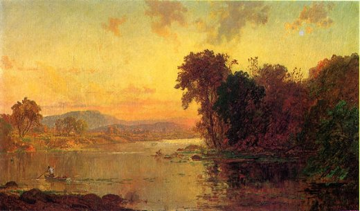 jasper francis cropsey fisherman in autumn landscape paintings