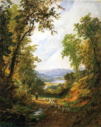 jasper francis cropsey shepherd and flock oil painting