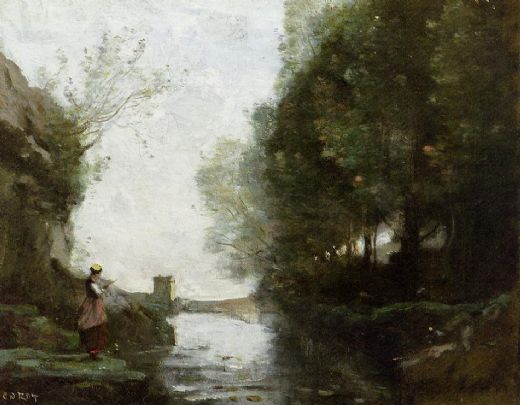 jean-baptiste-camille corot jean baptiste camille corot watercourse leading to the square tower paintings
