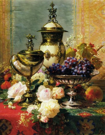 jean baptiste robie a still life with roses grapes and a silver inlaid nautilus shell painting