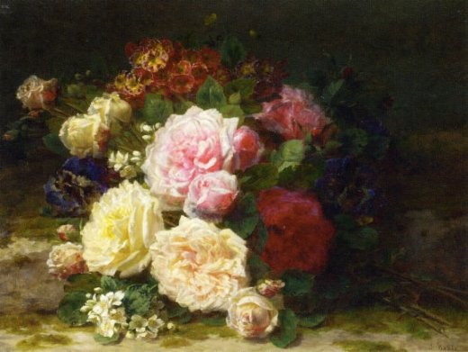 jean baptiste robie still life of roses painting