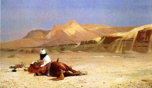 jean leon gerome an arab and his horse in the desert painting