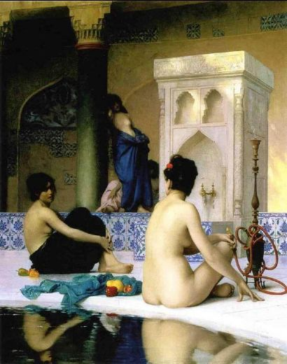 jean leon gerome bathing scene painting