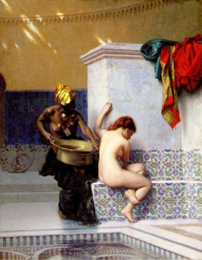 jean-leon gerome jean leon gerome turkish bath or moorish bath two women painting