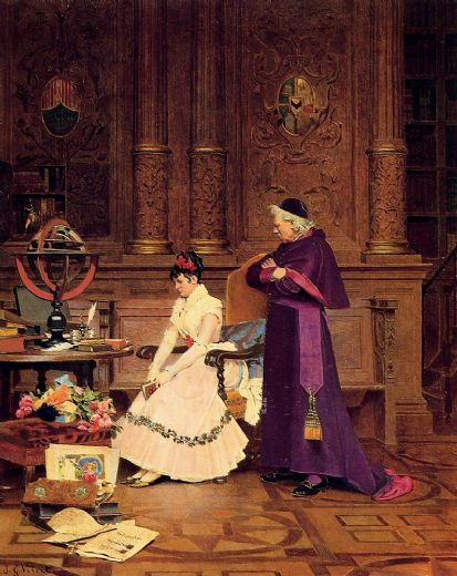jehan georges vibert the reprimand painting
