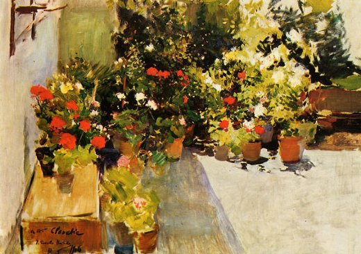 joaquin sorolla y bastida a rooftop with flowers painting