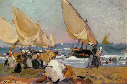 joaquin sorolla y bastida sailing vessels on a breezy day valencia paintings