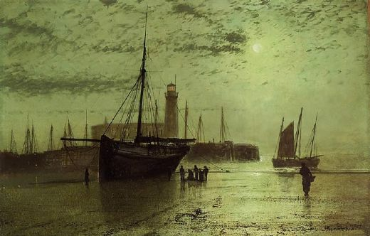 john atkinson grimshaw the lighthouse at scarborough painting