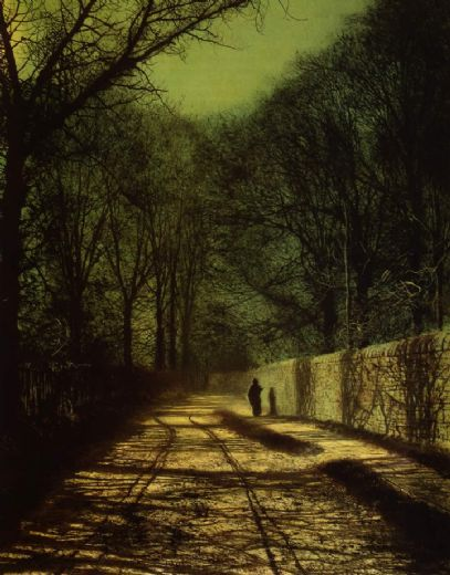 john atkinson grimshaw tree shadows on the park wall roundhay park leeds painting