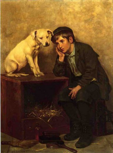 john george brown shoeshine boy with his dog painting