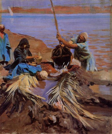 john singer sargent egyptians raising water from the nile painting