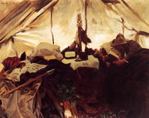 john singer sargent inside a tent in the canadian rockies painting