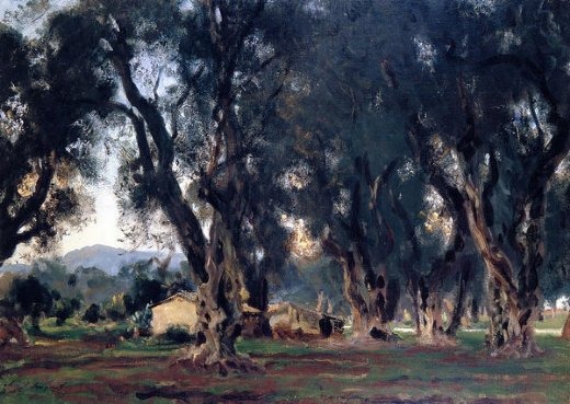 john singer sargent olive trees at corfu painting