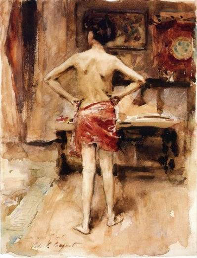 john singer sargent the model interior with standing figure painting
