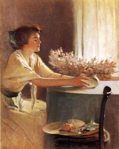 john white alexander a meadow flower painting