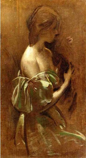 john white alexander portrait of a woman in an off painting