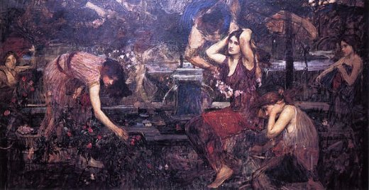 john william waterhouse sketch for flora and the zephyrs painting