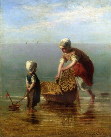 jozef israels mother and child by the sea painting