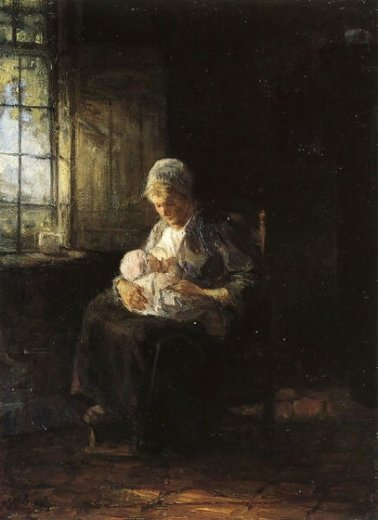 jozef israels motherhood oil painting
