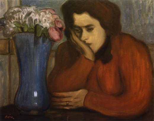 jozsef rippl ronai pensive woman with vase of flowers paintings