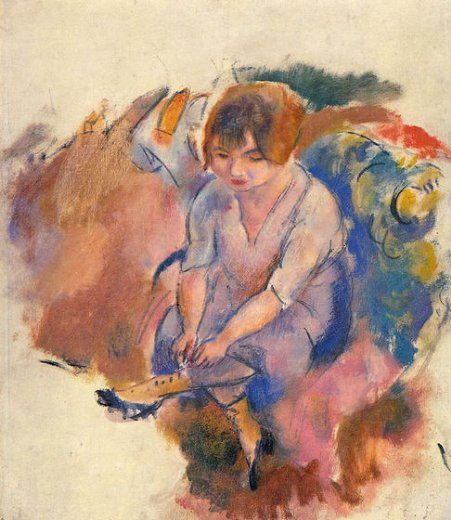 jules pascin young woman putting on her socks paintings