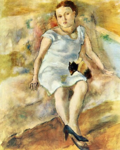jules pascin young woman with a little dog oil painting
