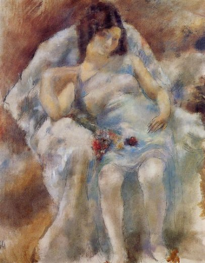 jules pascin zinah with flowers painting