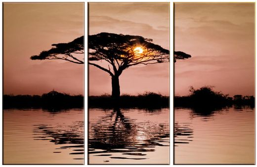 landscape african sunset painting