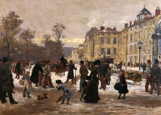 leon joseph voirin a winter s day painting