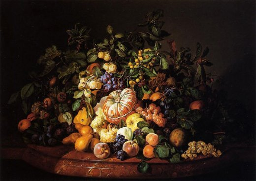 leopold zinnogger still life with fruit on a marble ledge painting
