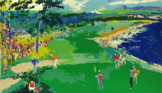 leroy neiman 18th at pebble beach paintings