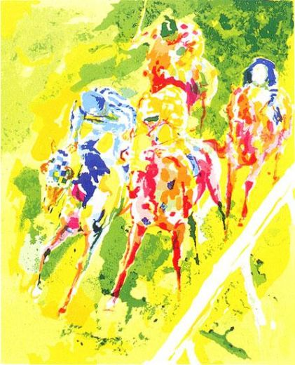 leroy neiman along the rail painting