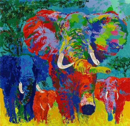 leroy neiman elephant charge oil painting