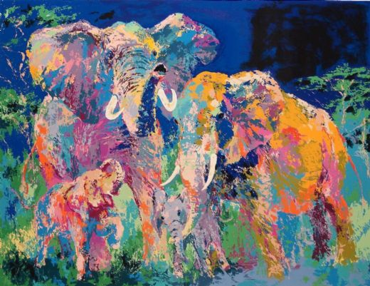 leroy neiman elephant family paintings