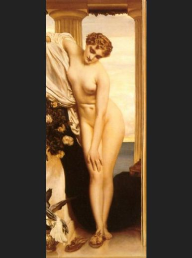 lord frederick leighton venus disrobing for the bath painting