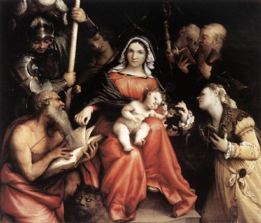 lorenzo lotto mystic marriage of st catherine oil painting