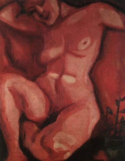 marc chagall red nude sitting up painting