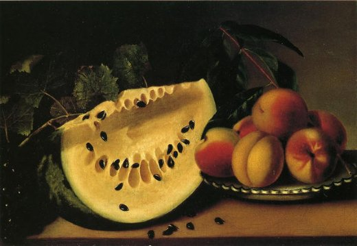 margaretta angelica peale still life with watermelon and peaches paintings