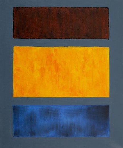 mark rothko brown orange blue on maroon painting