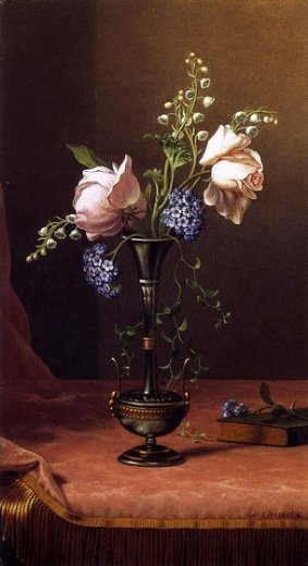 martin johnson heade victorian vase with flowers of devotion painting