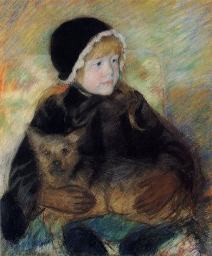 mary cassatt elsie cassatt holding a big dog oil painting