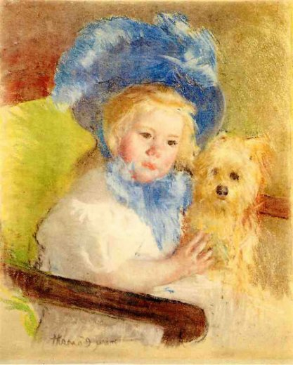 mary cassatt simone in a large plumed hat seated holding a griffon dog oil painting