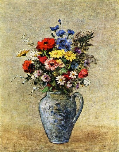 odilon redon flowers in a vase with one handle painting