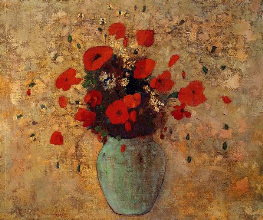 odilon redon vase of poppies painting