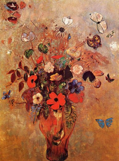 odilon redon vase with flowers and butterflies painting