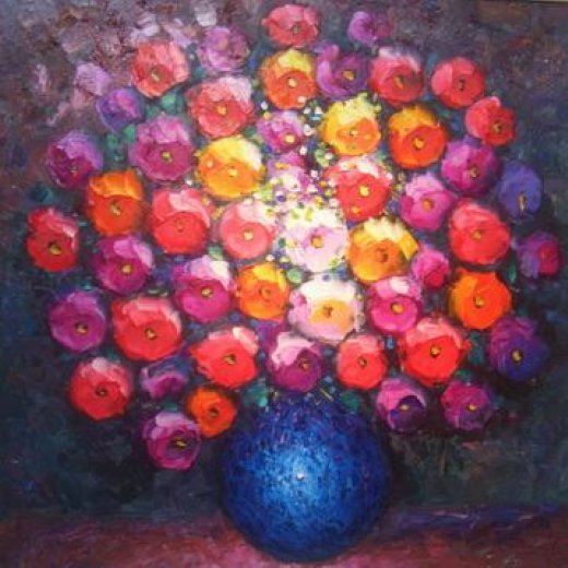 original paintings a bunch of flowers in a blue vase oil painting