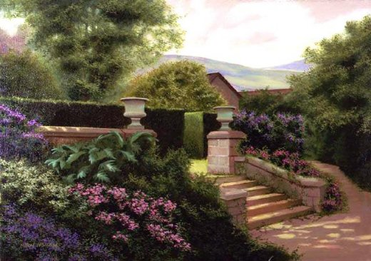 original paintings a corner of a garden painting