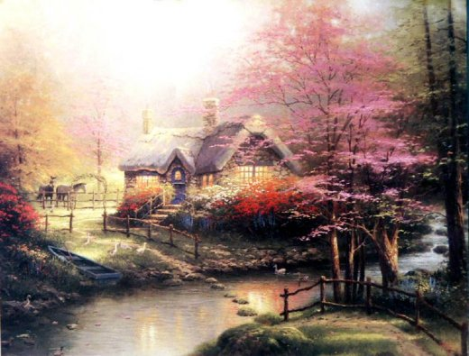 original paintings a cottage by a stream painting