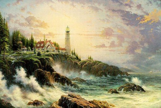 original paintings a light tower by the sea oil painting