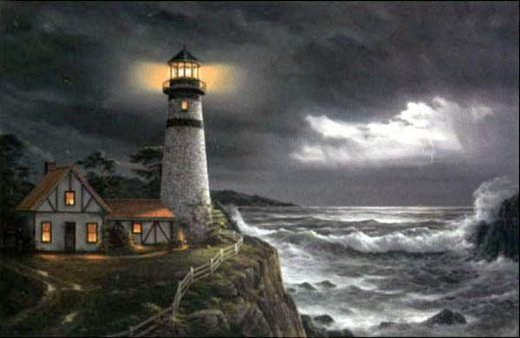 original paintings a lighthouse by the sea in the evening painting